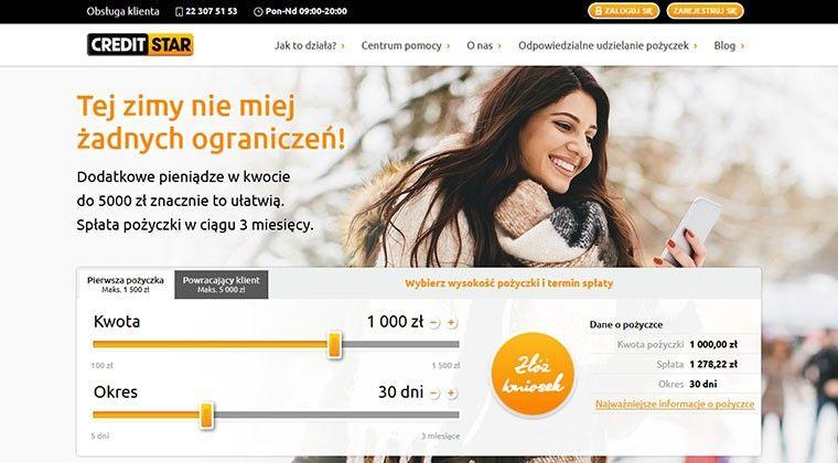 Creditstar – krótkoterminowe pożyczki do 5 000 zł