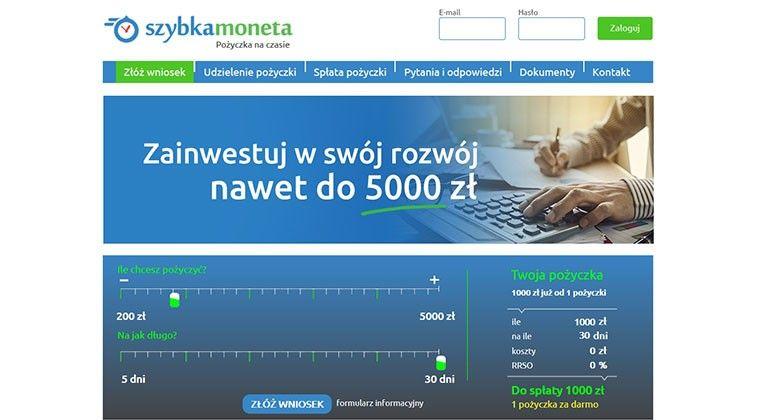 Szybka-moneta pożyczka online przez internet do 5000 zł