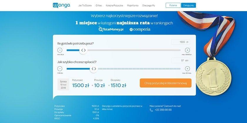 Wonga pożyczki online – szybkie i na raty do 10000 zł