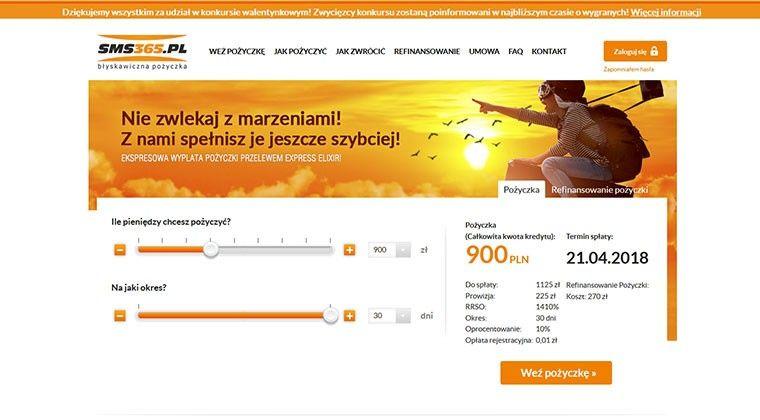 SMS365 – szybka pożyczka przez internet 3000 zł