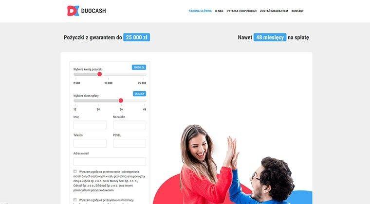 Duocash.pl – pożyczki bez zdolności kredytowej na poręczyciela do 25 000 zł