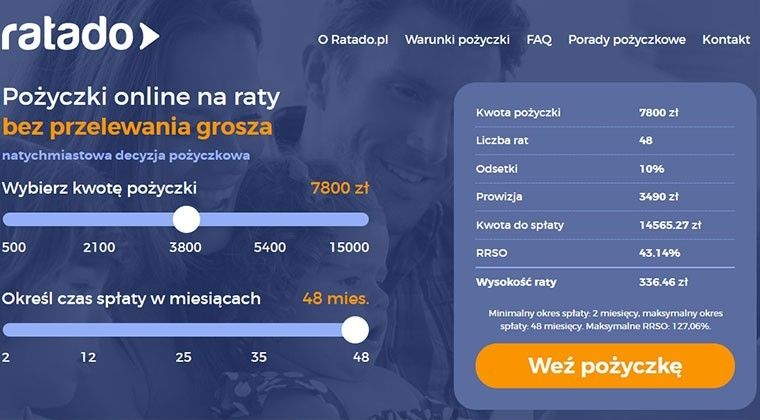 Ratado.pl – pożyczka na raty do 15 000 zł przez internet