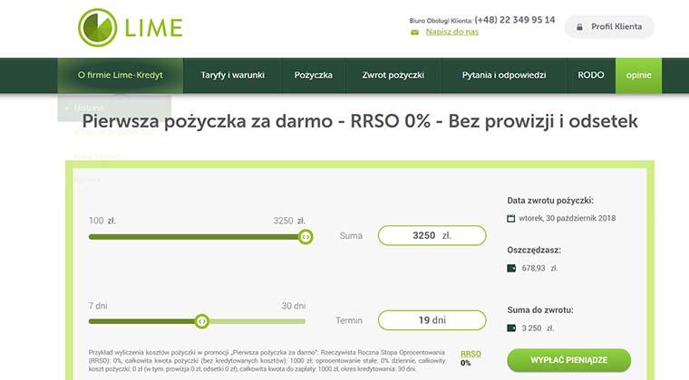 Lime Kredyt – pożyczki przez internet do 3250 zł
