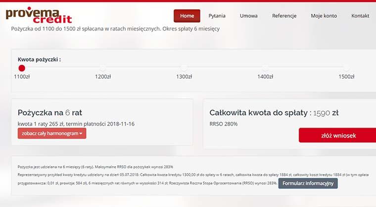 Provemacredit – pożyczka od 1100 do 1500 zł spłacana w ratach miesięcznych